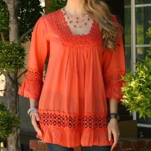 Cute Options Coral Polka Dot Embroidered Blouse